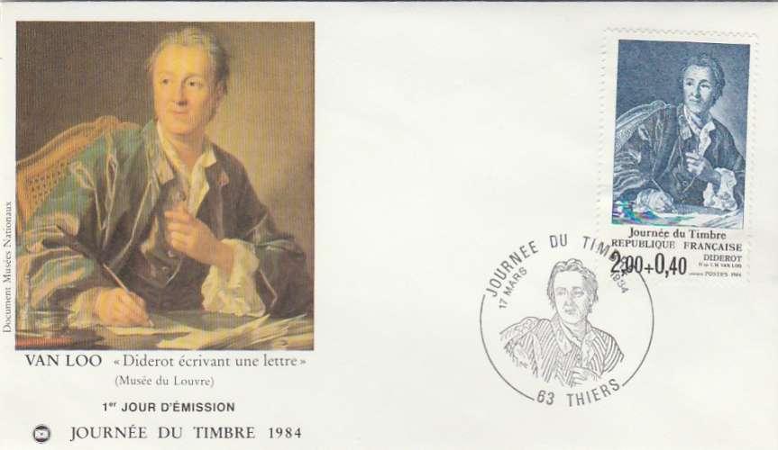 FDC - France - YT N° 2304  Journée du timbre - Diderot - PJ Thiers 1984