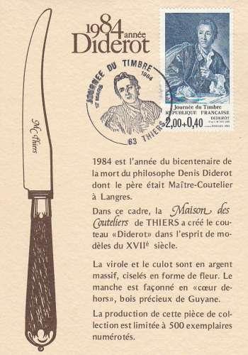 FDC - France - YT N° 2304  Journée du timbre - Diderot - PJ Thiers  1984 Couteaux