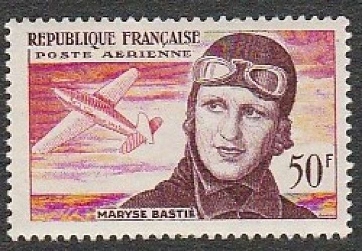France - Poste Aérienne PA N° 55 MNH ** Aviatrice Maryse Bastié - 1955