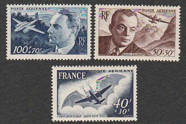 France - Poste Aérienne PA N° 21 22 23  MNH ** 1947/48 St Exupery / Dagnaux / Ader