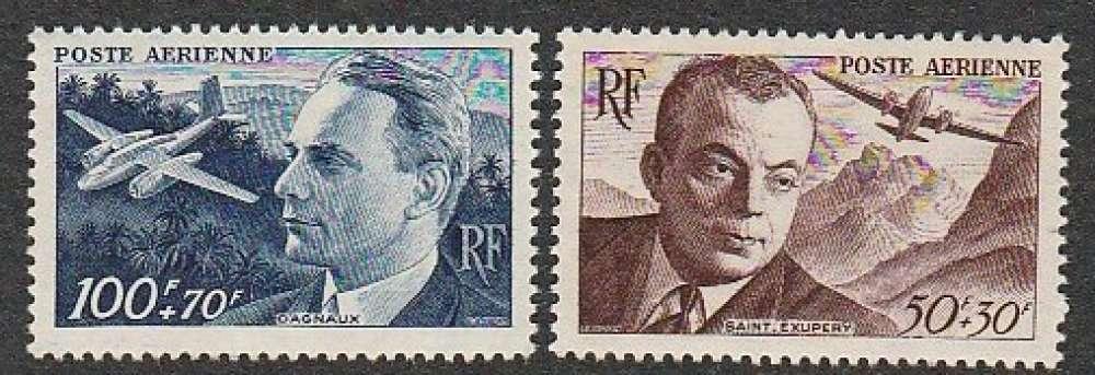 France - Poste Aérienne PA N° 21 22  MNH ** 1947 Antoine de St Exupéry / Dagnaux