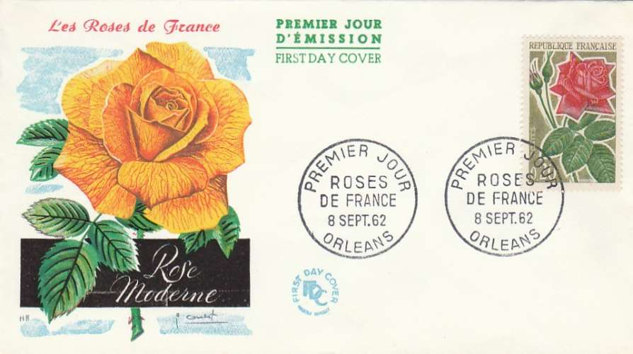 FDC - France - YT N° 1356  1962 - Roses de France - Premier jour Orléans