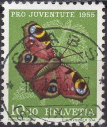 E453 - Y&T n° 568 - oblitéré - Paon du jour - 1955 - Suisse