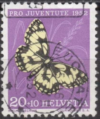 E454 - Y&T n° 528 - oblitéré - Papillon demi-deuil - 1952 - Suisse