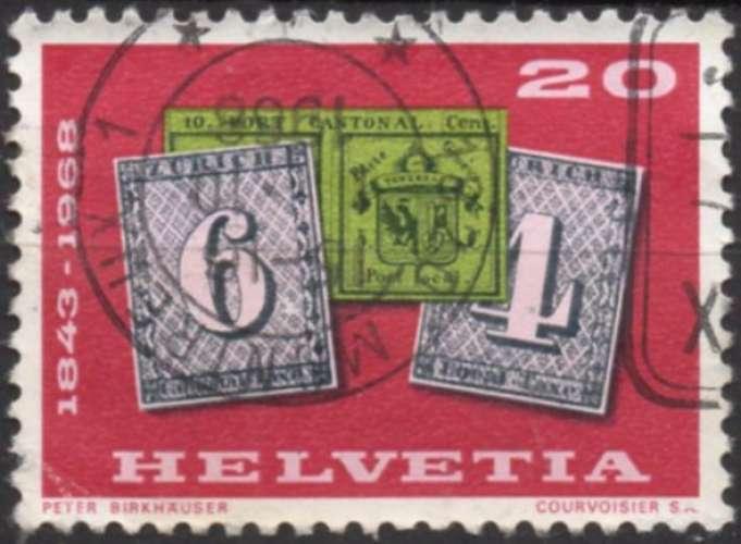 E480 - Y&T n° 812 - oblitéré - 125 ans du timbre - 1968 - Suisse