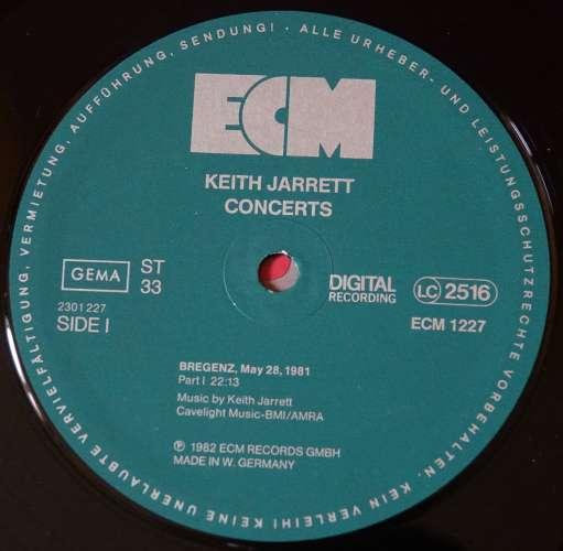 Germany 1982 Vinyl LP Album Keith Jarrett Concerts ECM Records LC 2516   Import