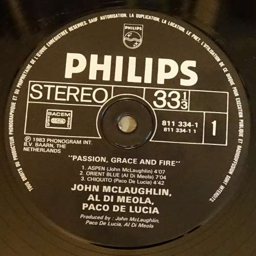 Netherlands 1983 Vinyle LP Album J Mc Laughlin, Al di Meola, Paco de Lucia Passion, grace & fire