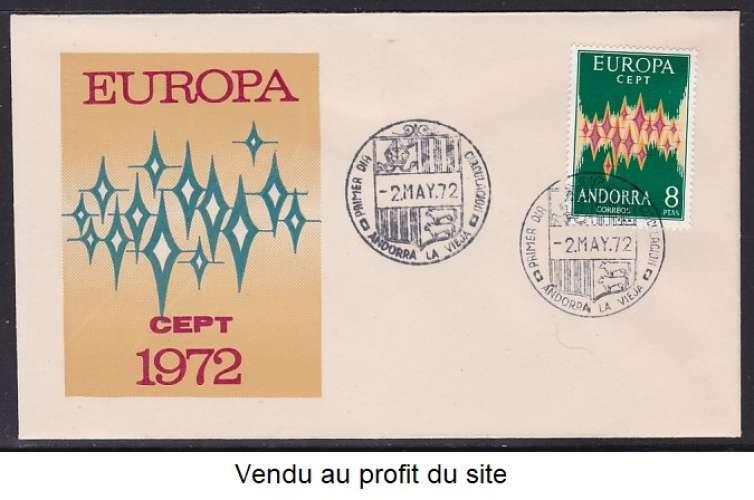 ENVELOPPE 1ER JOUR D'ANDORRE ESPAGNOL - EUROPA 1972 N° Y&T 64A