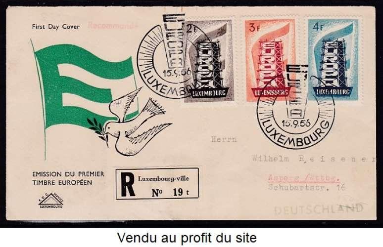 ENVELOPPE 1ER JOUR DU LUXEMBOURG - EUROPA 1956 N° Y&T 514 A 516