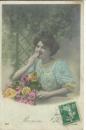 miniature cpa Femme avec bouquet  de rose ,  bonne fête , écrite 1908