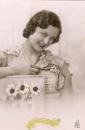 miniature Cpa carte fantaisie vive Sainte Catherine jeune femme