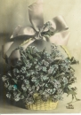 miniature CPA amitié corbeille fleurs , voyagée