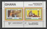 miniature BLOC NEUF DU GHANA - 13EME ANNIVERSAIRE DE LA REVOLUTION DU 13 JANVIER N° Y&T 47