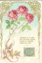 miniature Cpa Fantaisie  , Bouquet de roses - Tremblante je te cueille .....
