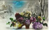 miniature Cpa Fantaisie  , carte anniversaire - paysage d'hiver .