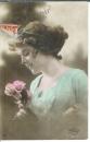 miniature Cpa Jeune femme - roses , ww1 , voyagée * cher cousin