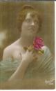 miniature Cpa Jeune femme avec bouquet de roses , ww1 , voyagée 1915 * mon cher Paul