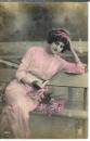 miniature Cpa Jeune femme sur un banc livre à la main , ww1 , voyagée 1918