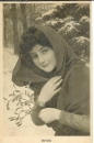 miniature  Cpa Portrait de femme romantique , Hiver