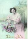miniature Cpa fantaisie Femme  - bouquet de fleurs , Bonne fête