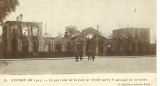 miniature cpa 60 Senlis , ww1 , la gare après le passage de la horde * écrite sergent 93° régt infanterie