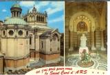 miniature cpsm 01 Ars , statue du curé d'Ars et la basilique