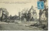 miniature cpa 80 Montdidier , ww1 , la caisse d'épargne et l'église St Sépulcre , voyagée 1922