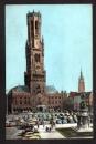 miniature CARTE POSTALE BELGIQUE - BRUGGE - BRUGES - Halletoren / Le Beffroi / The Belfry - Old Cars