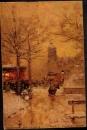 miniature PARIS - Place du Châtelet ( collection Lefevre Utile ) peinture - circ 1909