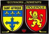 France 12 Saint-Affrique - Blasons adhésifs de la ville & du Rouergue sur carte postale neuve