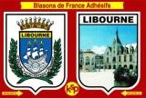 France 33 Libourne - Blasons adhésifs de la ville & de la Place Abel Surchamp sur carte postale