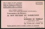 Buvard de la Beurrerie du Tremblay H. DENIS à Flers de l'Orne 61 Orne. Epoque 1900 21x13 cm