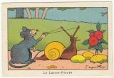 Image Benjamin Rabier   souris ,escargot le lance-pierre   pub Blédine Jacquemaire