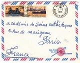 miniature lettre  avion  Nouvelle Calédonie NOUMEA 1953 pour Paris  -Y&T  274 +  270