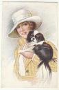 miniature cpa  Elégante à chapeau et Cavalier King Charles