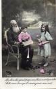 miniature ENFANTS ET LEUR GRAND PERE 1914  ( LOT K2 )