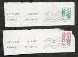 France  2013 Marianne de Ciappa Roulette verte et prioritaire oblitéré sur fragment