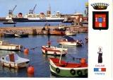 miniature Calais le port ( ferry boat barque de pêche  blason