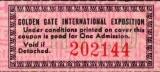 USA 1939 Ticket d´entrée à la Golden Gate International Exposition