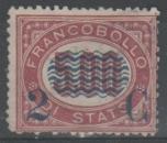 miniature Italie 1878 - Surchargé 2 c. sur 5 L.