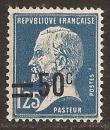 miniature FRANCE 1926 YT 222 Neuf  - Pasteur 1f25 bleu surchargée 50c