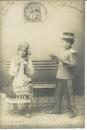 miniature Cpa Le petit soldat , amourette * coup de foudre , écrite 1902