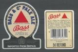 Etiquette de Bière - Grande Bretagne - Bass & Cos Pale Ale - 12 US Fluid OZS 35,4 cl Code Barre