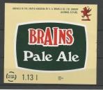 Etiquettes de Bière - Grande Bretagne - Brains pale Ale - 1.13 l