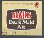 Etiquettes de Bière - Grande Bretagne - Brains Dark Mild Ale - 1.13 l