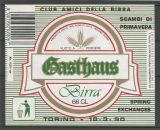 Etiquette de Bière - Italie - Gasthaus Birra - 66 cl - Code Barres + Surcharges