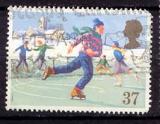 miniature Grande Bretagne 1990 YT 1498 Obl Noel Enfant patinant