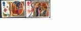 miniature Grande Bretagne 1991 YT 1574-75 Obl Noel Adoration des mages Marie et Jesus dans la creche