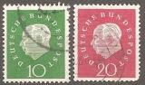 miniature Allemagne 1959 YT 174-175 Obl President Heuss