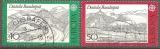 miniature Allemagne 1977 YT 781-782 Obl Europa Autoroute de la Rhon / Siebendebirge et Train